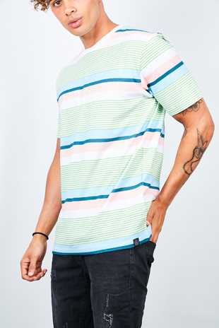 Mens Mint Multi Stripe Crew Neck T-Shirt