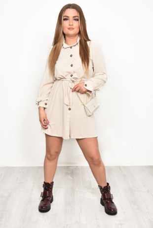Beige Belted Shirt Dress With Cross Body Bag