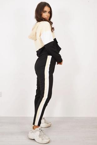 Beige Colour Block Half Zip Hoodie Loungwear Set