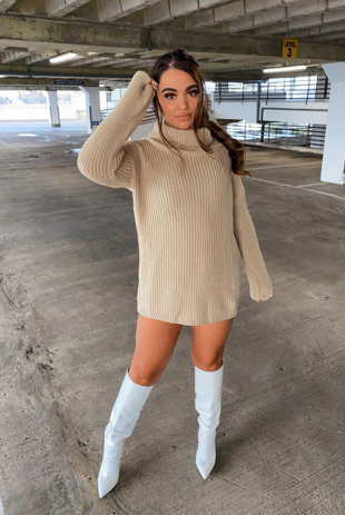 Beige Roll Neck Knitted Jumper Dress