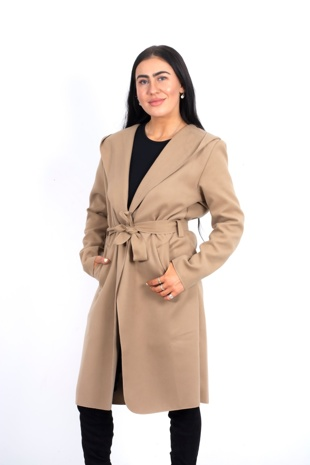 Beige Waterfall Hooded Belted Trench Jacket