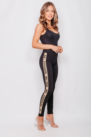 Gold Side Logo Seamless Black Gym Leggings