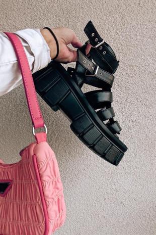 Black Chunky Gladiator Sandals