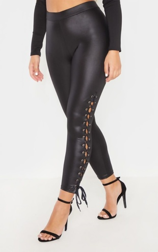 Black Coated Lace Up Hem Legging