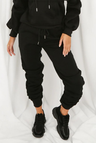 Black Fleeced Lined Ruched Ankle Joggers