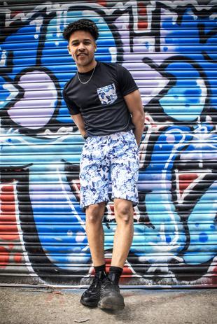 Men Black Floral Print Muscle Fit Shorts Set