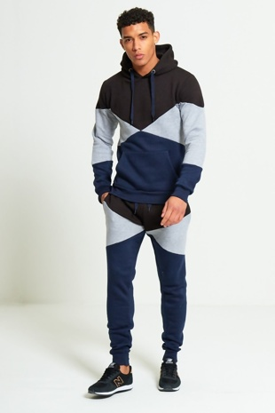 Mens Black Geometric Pattern Panel Tracksuit