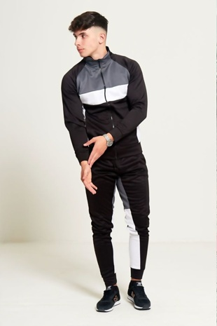 Mens Black Grey and White Collared Tracksuit Preorder