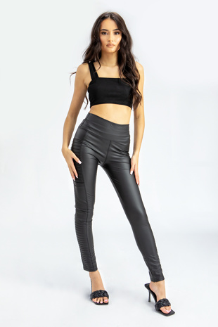 Black Leather Look High Waist Biker Leggings