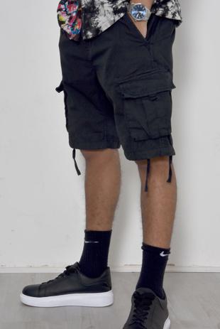 Mens Black Manchester Utility Pockets Shorts