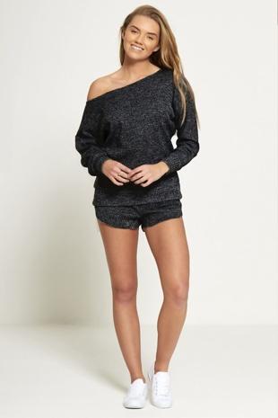Black Marl Knit Jumper And Short Set-Copy