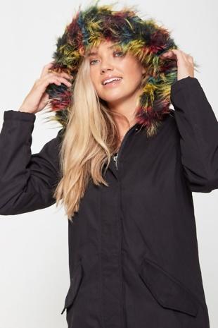 Black Parka Coat With Multi Faux Fur Hood