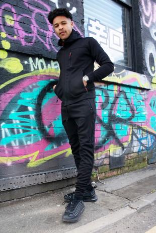 Mens Black Multi Zip Muscle Fit Hooded Tracksuit