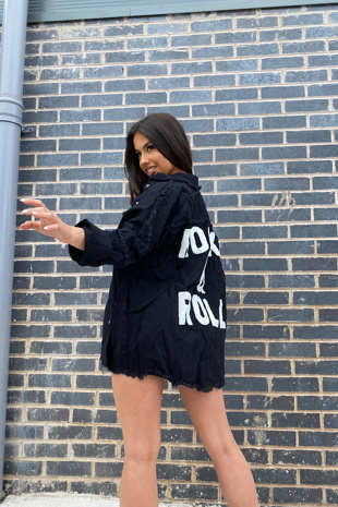 Black Rock And Roll Denim Jacket