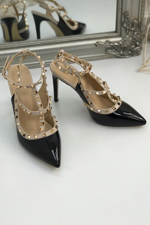 Black Multi Strap T-Bar Studded Court Heels