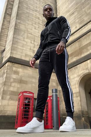 Black Velvet Twin Side Stripe Hooded Skinny Tracksuit