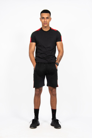 Mens Black With Red And Green Side Stripe Short Set