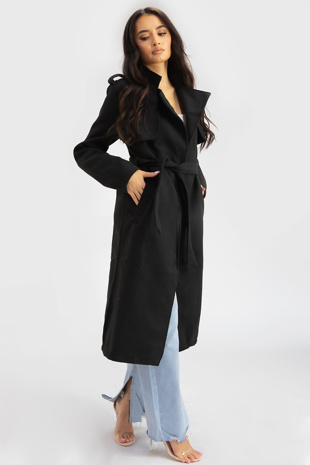 Black Wool Military Belted Midi Coat