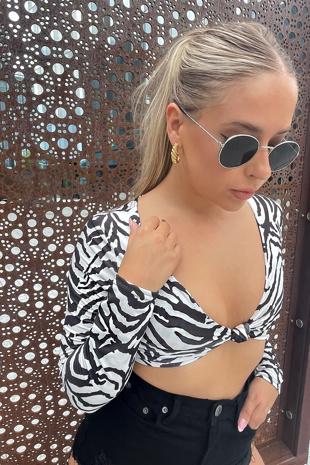 Black Zebra Print Slinky Twist Knot Crop Top