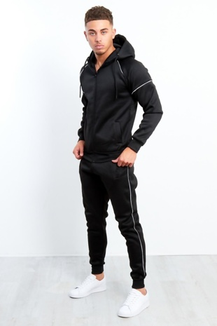 Mens Black Zip Through Piping Hooded Tracksuit Preorder