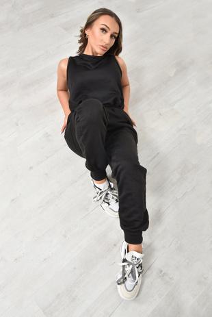 Black Zip Up Pocket Detail Jumpsuit