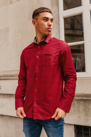 Mens Red Long Sleeve Gingham Shirt