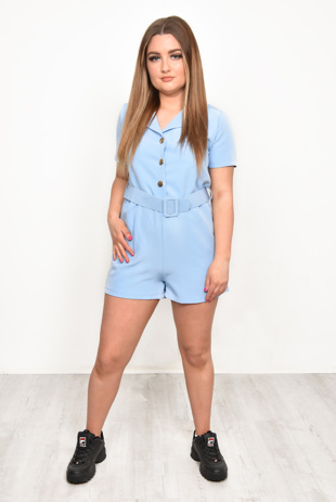 Blue Button Up Belted Playsuit