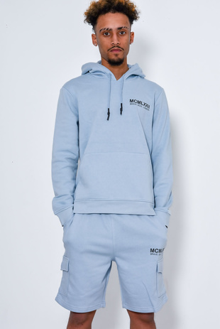 Men Printed Blue Hoodie And Short Tracksuit-Copy