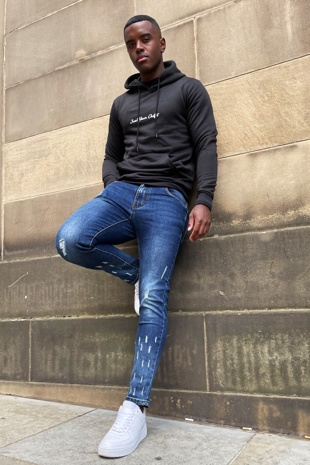 Blue Skinny Jeans with Raw Hem and Knee Rip