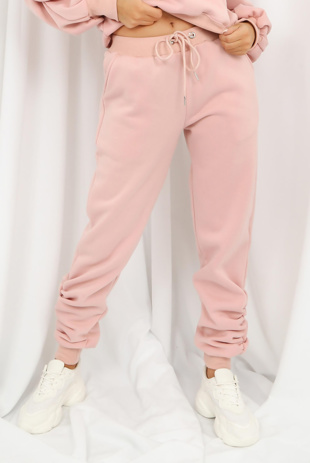 Blush Fleeced Lined Ruched Ankle Joggers