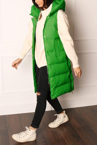 Green Longline Hooded Puffer Gilet