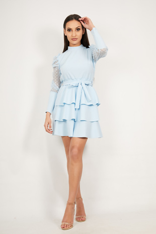 Baby Blue Mesh Sleeve Ruffle Tiered Dress