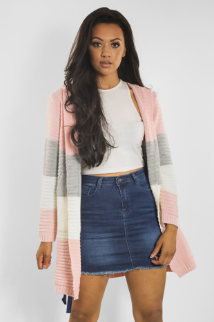 Baby Pink Knitted Cardigan With Hood