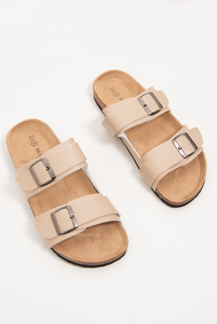 Mens Beige Buckle Strap Slip On Sandals