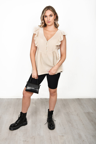 Beige Button Front Smoke Blouse