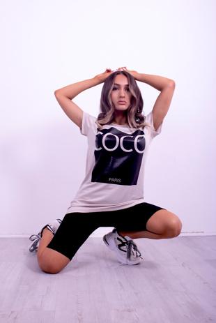Beige Coco Slogan T-Shirt