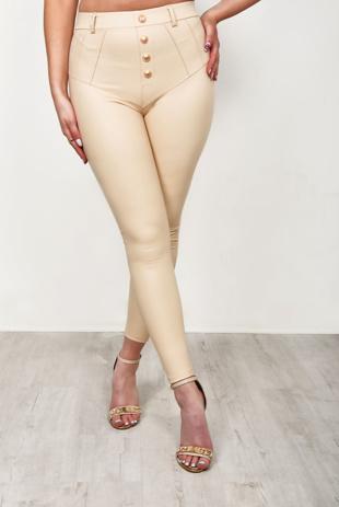 Beige Faux Leather Button Front Leggings