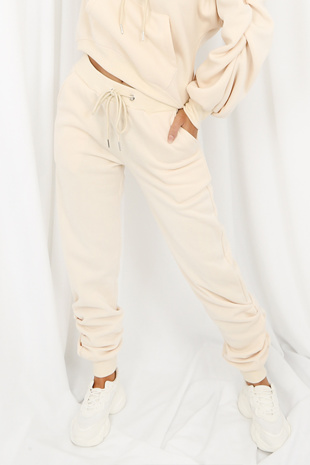 Beige Fleeced Lined Ruched Ankle Joggers