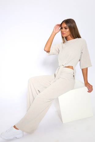 Beige Knot Front Top And Pants Set