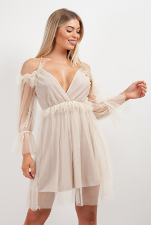 Beige Mesh Ruffle Skater Dress