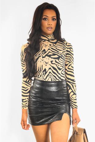 Beige Tiger Print High Neck Top