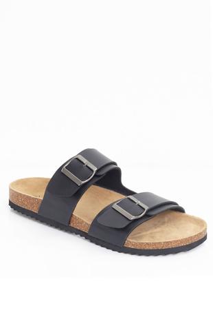 Mens Black Buckle Strap Slip On Sandals-Copy