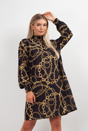 Black Chain Print High Neck Dress