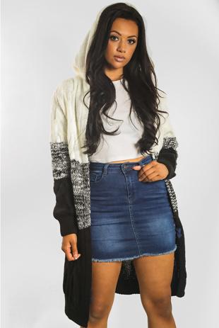 Black Colourblock Twist Knit Hood Cardigan