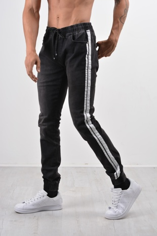 Black Denim with White Stripe Joggers