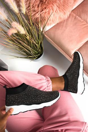 Black Diamante Embellished Sock Trainers