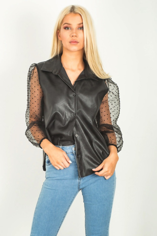 Black Faux Leather Organza Sleeve Swiss Dot Shirt