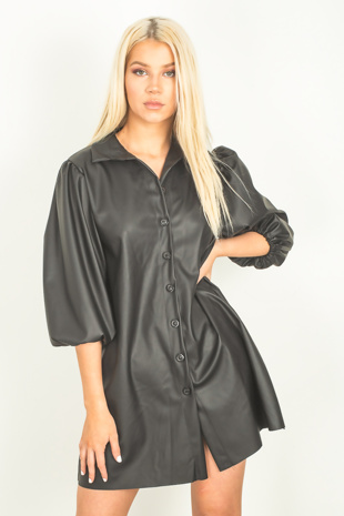 Black Faux Leather Puff Sleeve Shirt Dress