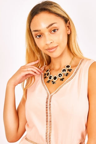 Black Gem Drop Gold Chain Diamante Necklace