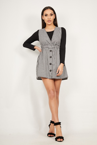 Black Gingham Print Deep Plunge Pinafore Dress
